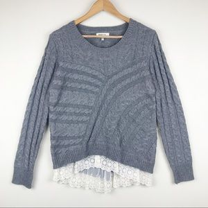 Monteau Cable Knit Lace Layered Sweater Size L
